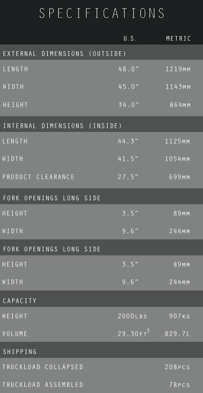SPECIFICATIONS-CHART
